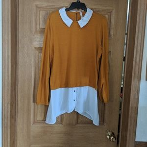 Mustard yellow NY Collection collared sweater